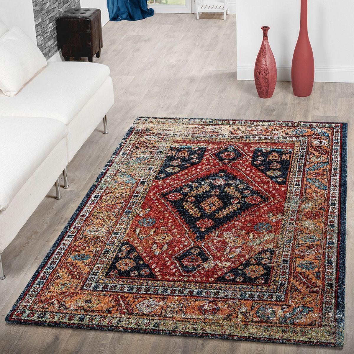 Teppich Modern Orientalisch Schwarz Mehrfarbig Wohnzimmer Teppiche Teppiche In 2020 Wohnzimmer Orientalisch Teppich Wohnzimmer Teppich