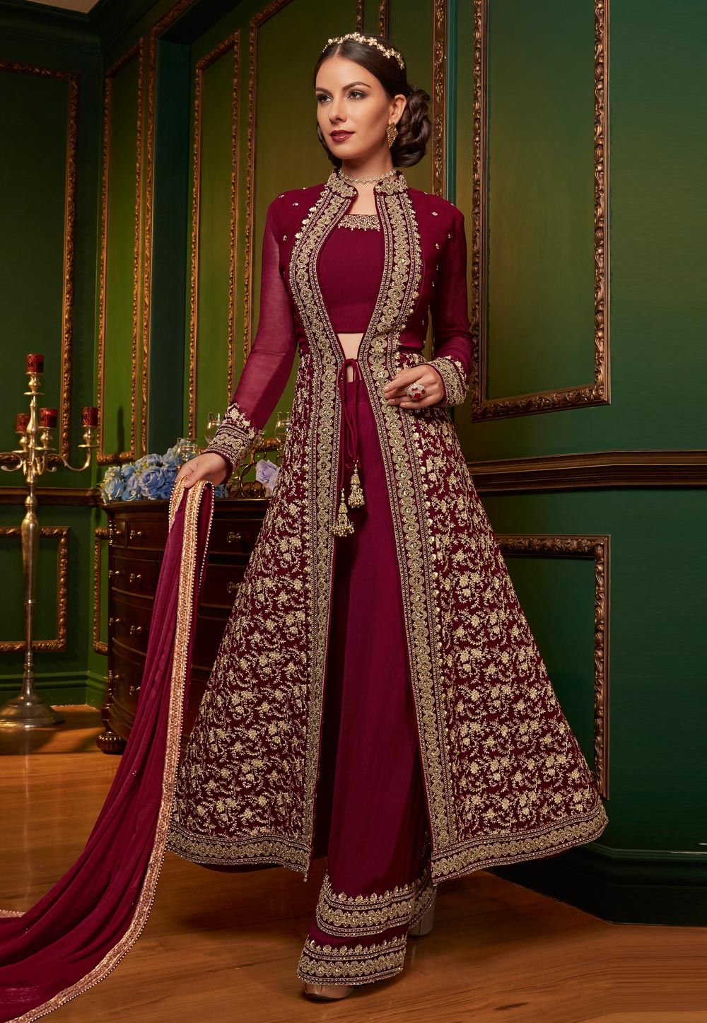 6143894e85 Buy Magenta Georgette Palazzo Style Suit 153796 online at lowest price from  huge collection of salwar kameez at Indianclothstore.com.