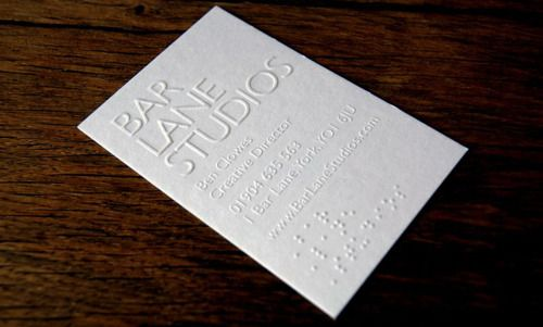 Braille On A Business Card Business Card Design Business Cards Name Cards