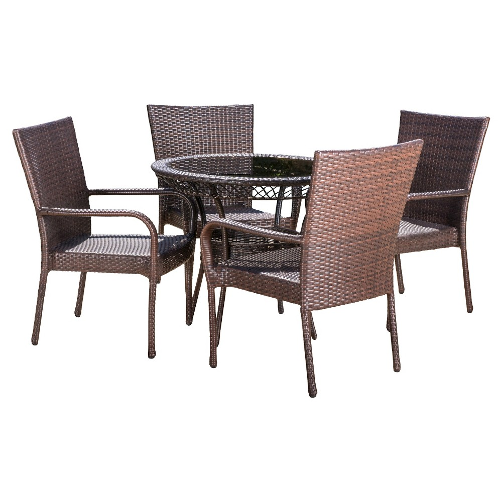Christopher Knight Home Littleton 5-piece Wicker Patio Dining Set ...