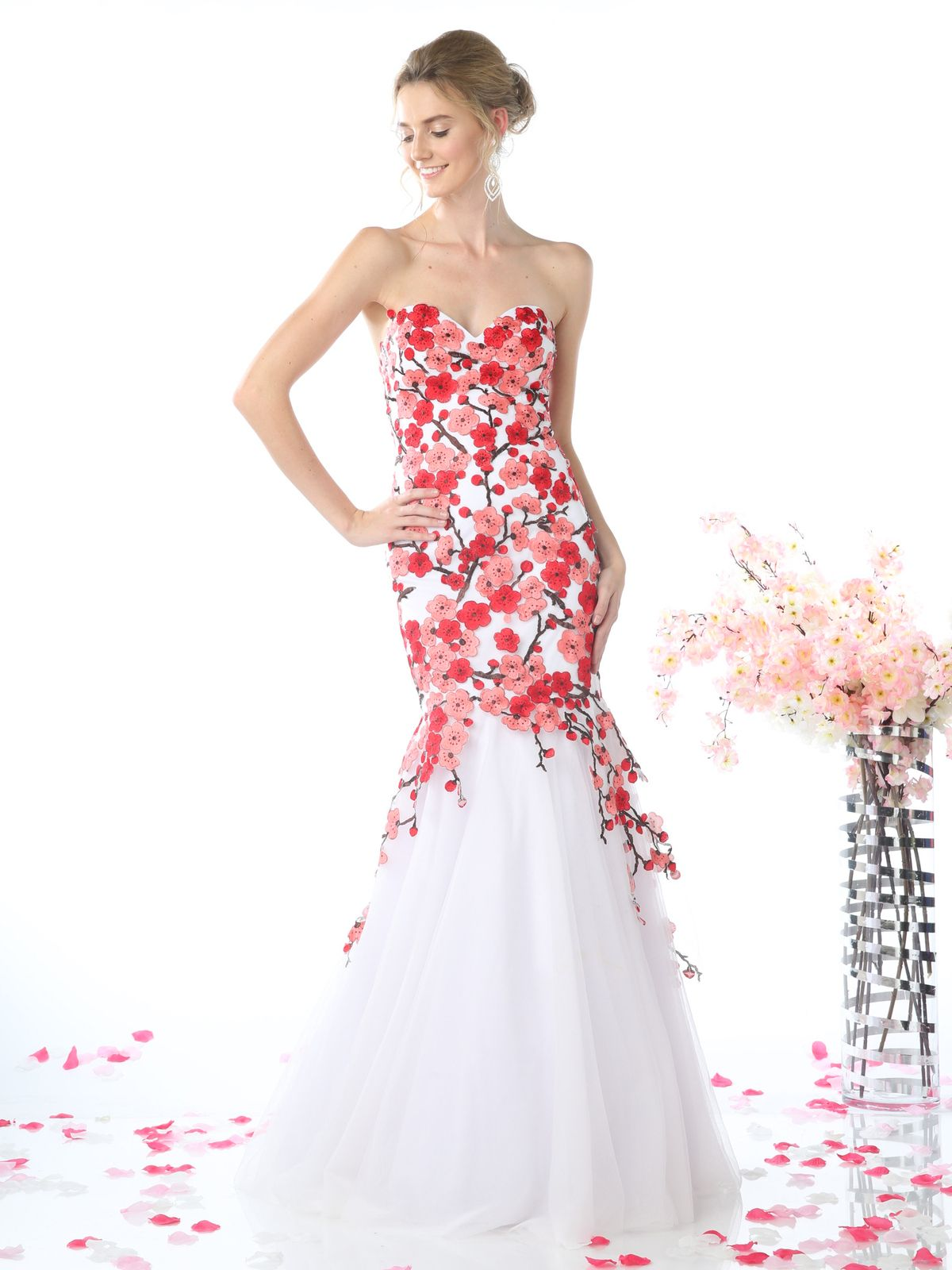 KD080 Sweetheart Trumpet Prom Evening Gown with Embroidery - White ...