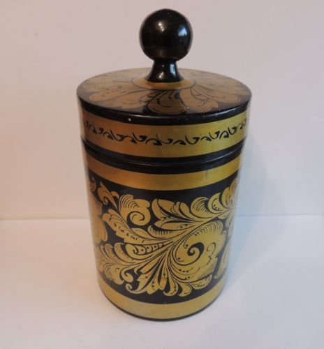 Vintage Golden Khokhloma Covered Jar Cannister Lacquer Russia Russian Folk Art