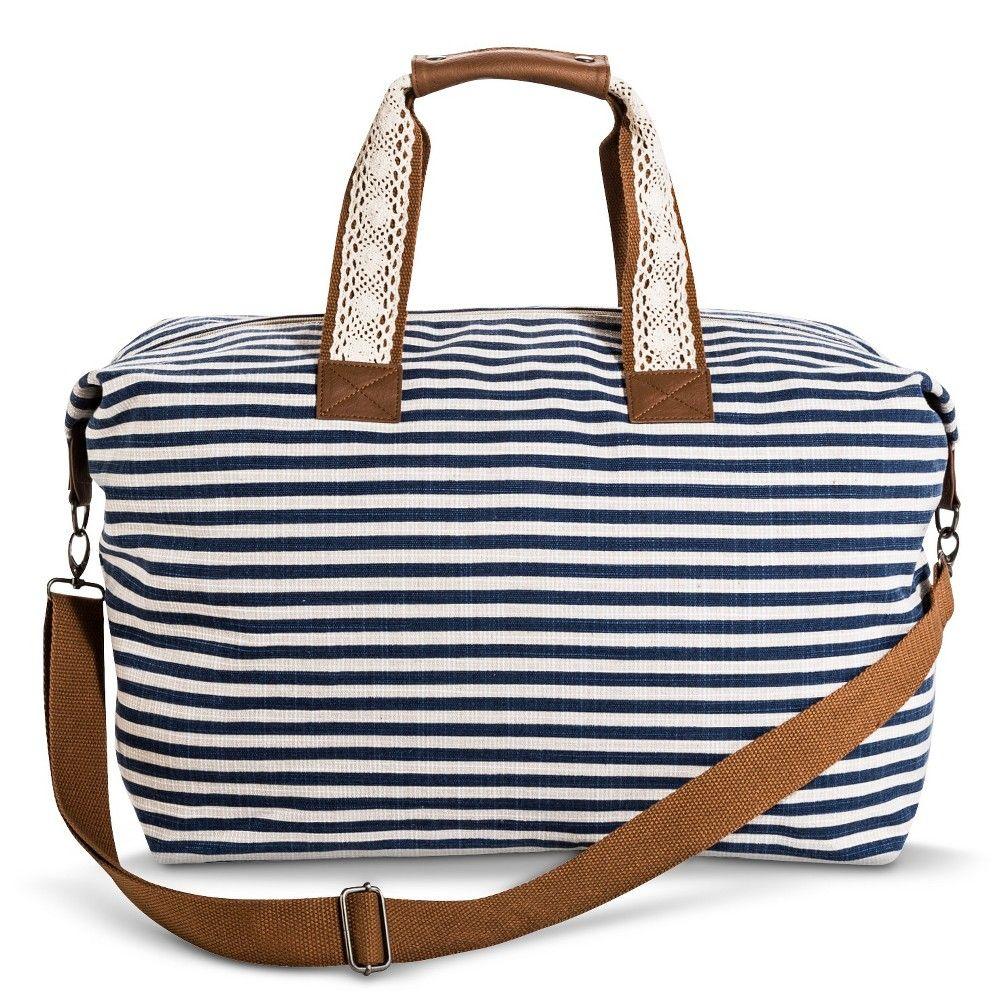 Women's Striped Canvas Weekender Handbag Navy - Mossimo Supply Co., Blue