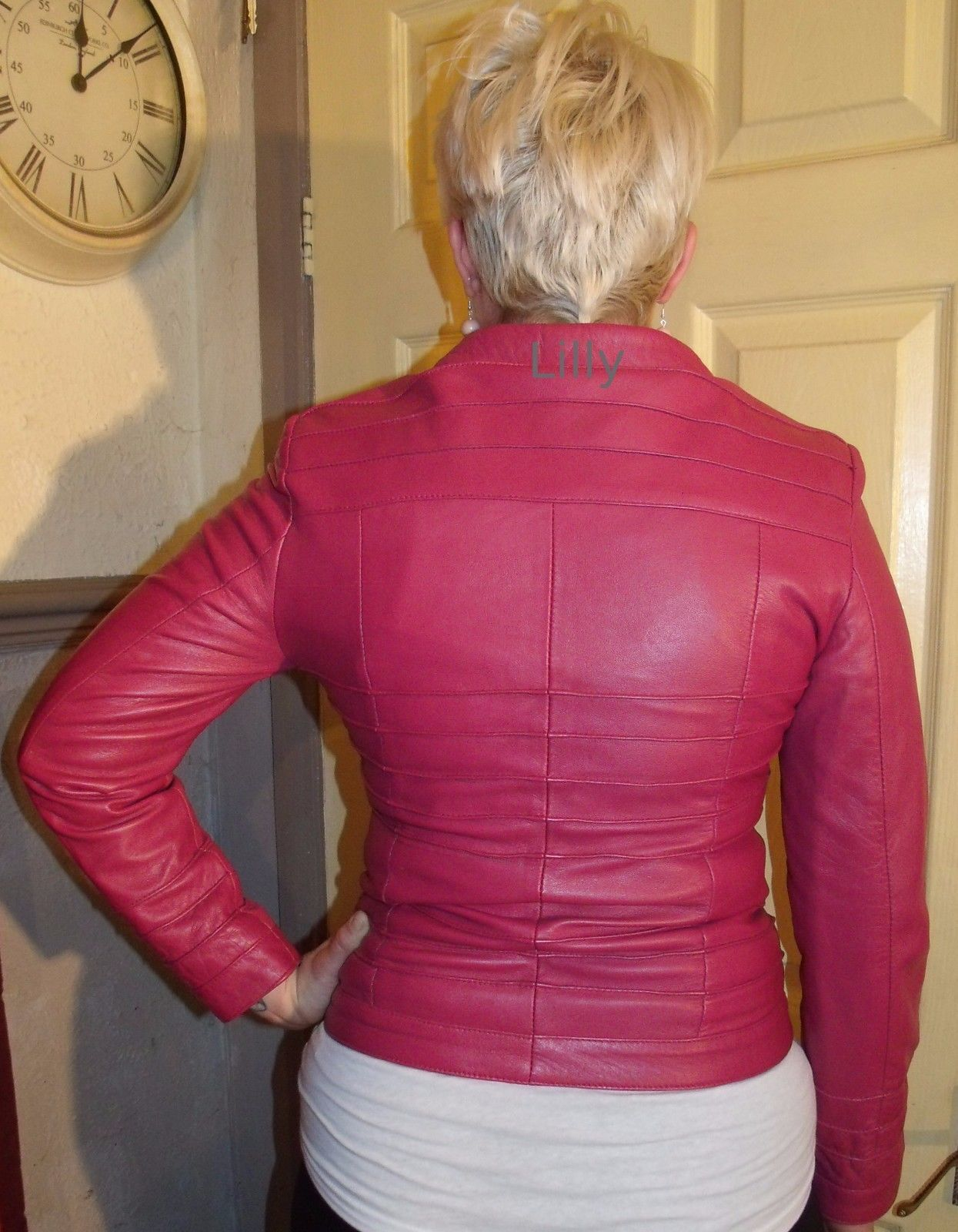 Ladies pink leather cuir cuero style jacket m size uk usa