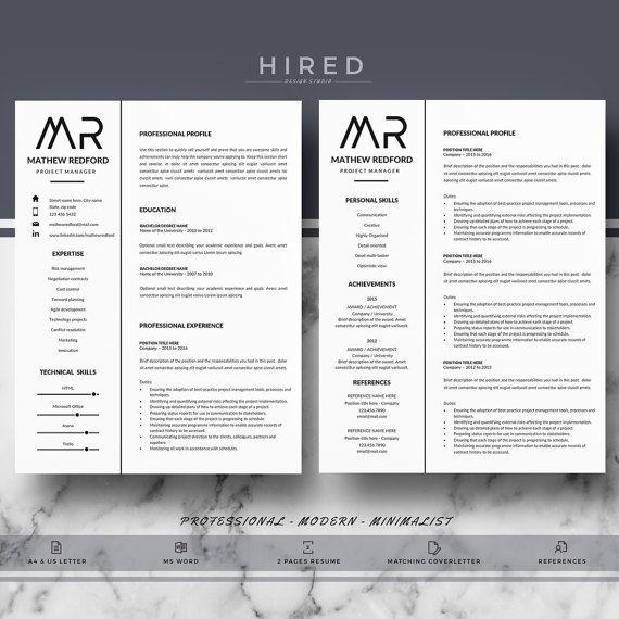 Professional Resume Templates; Minimalist Resume, CV Template For Word;  Modern Resume, CV Template; Resume, CV Design; Instant Download