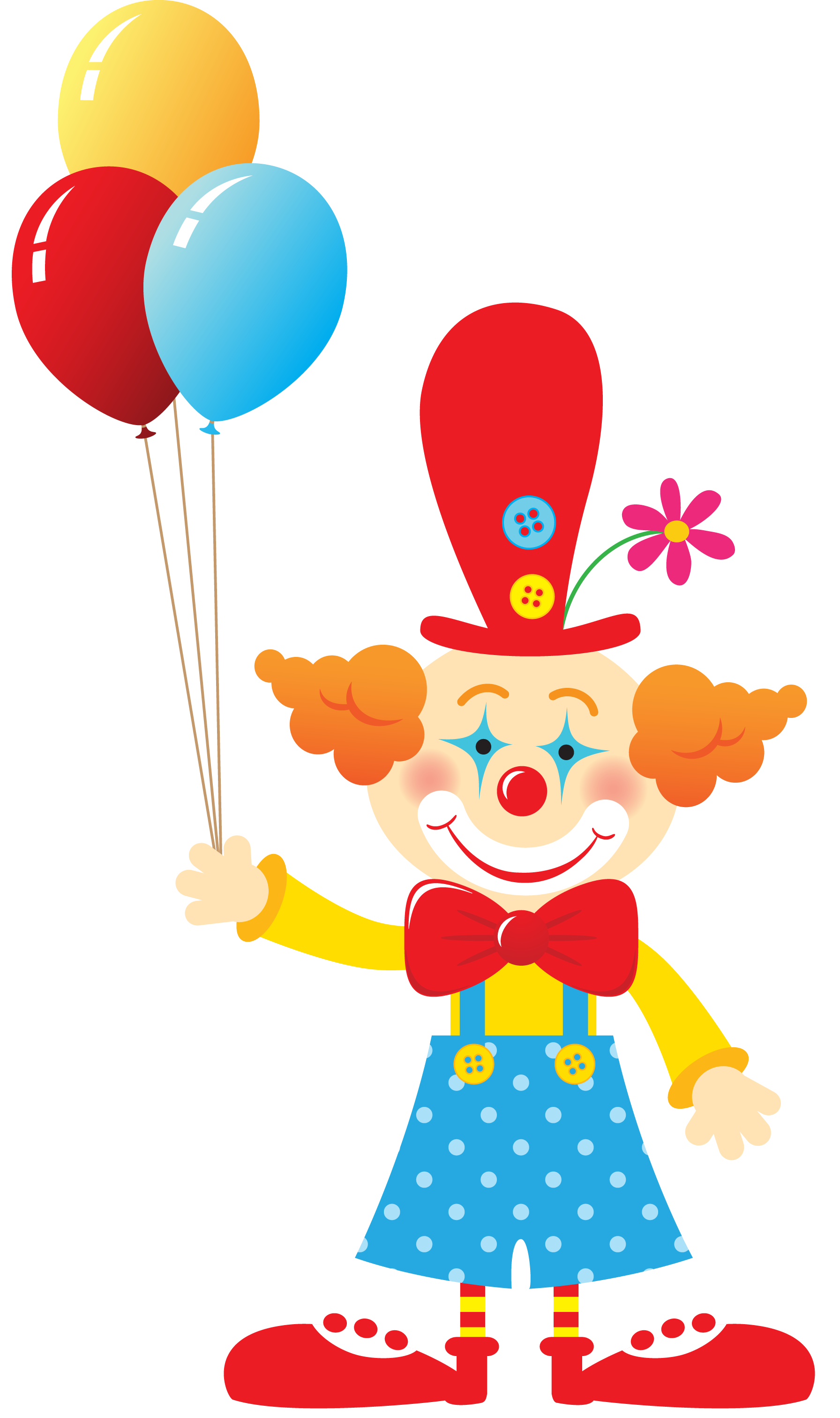 Clipart clown with balloons