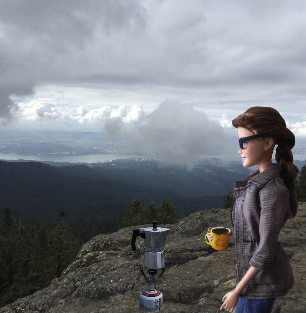 """I just """"happened"""" to bring all my coffee gear on this hike. Might as well make a cup on this mountain top like any normal person would. #socalitybarbie"""