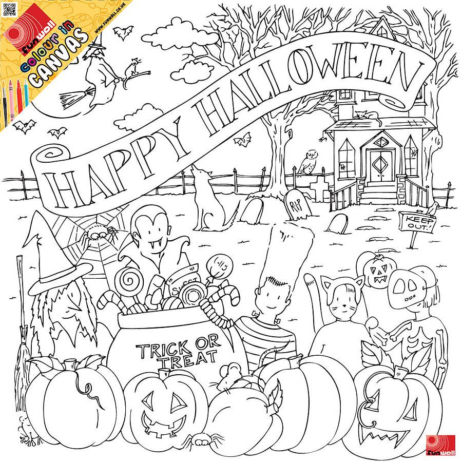Halloween Colour In Canvas | Colorear y Molde