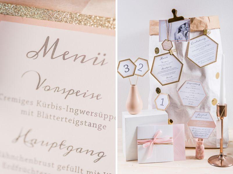 Hochzeitseinladung In Den Tönen Gold, Blush, Pfirsich, Rosa Und Weiß Von  Farbgold München
