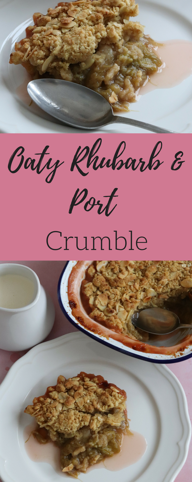 My Oaty Rhubarb & Port Crumble is a twist on a British traditional pudding. The port helps bring out the sweetness in the rhubarb and the topping has an extra added crunch from the oats and almonds.