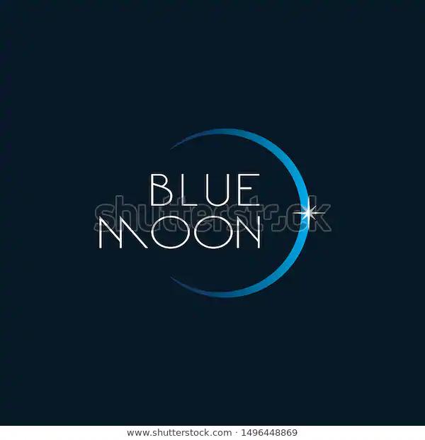 Moon Logo In Blue Moon Logo Logos Logo Design