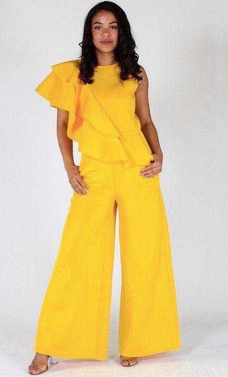 Ora's Closet Boutique — Yellow Ruffle Shoulder Jumpsuit