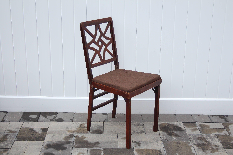 vintage leg o matic chair brown fabric seat cushion wood frame