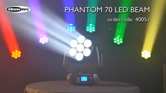 Showtec Phantom 70 LED Beam. Ordercode:40051 http://www.highlite.nl/Shop/Products/Entertainment-Lighting/Moving-Heads/Moving-Heads-Beams/Phantom-70-LED-Beam. The Showtec Phantom 70 LED Beam is a RGBW beam moving head with 7x 60mm lenses and 5° optics. The combination of the big lenses with narrow beam angle and full color mix creates an indispensable effect for your lightshow. It can be controlled by DMX in 8, 12 and 16 channel mode or used stand alone with the Master / slave function…