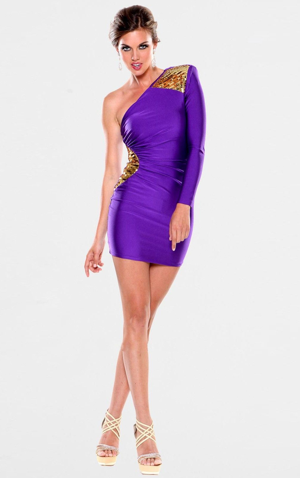 Classic Satin Mini One Shoulder Mermaid Long Sleeve Cocktail Dresses ...