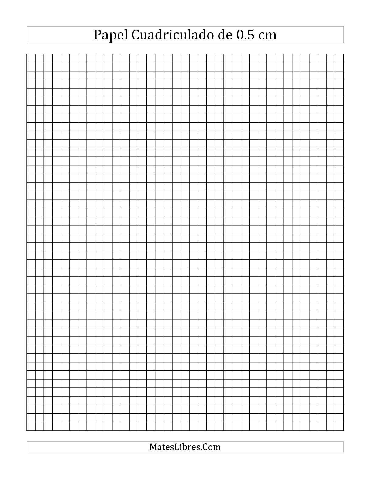 La hoja de ejercicios de matemáticas de Papel Cuadriculado de 0.5 cm ...