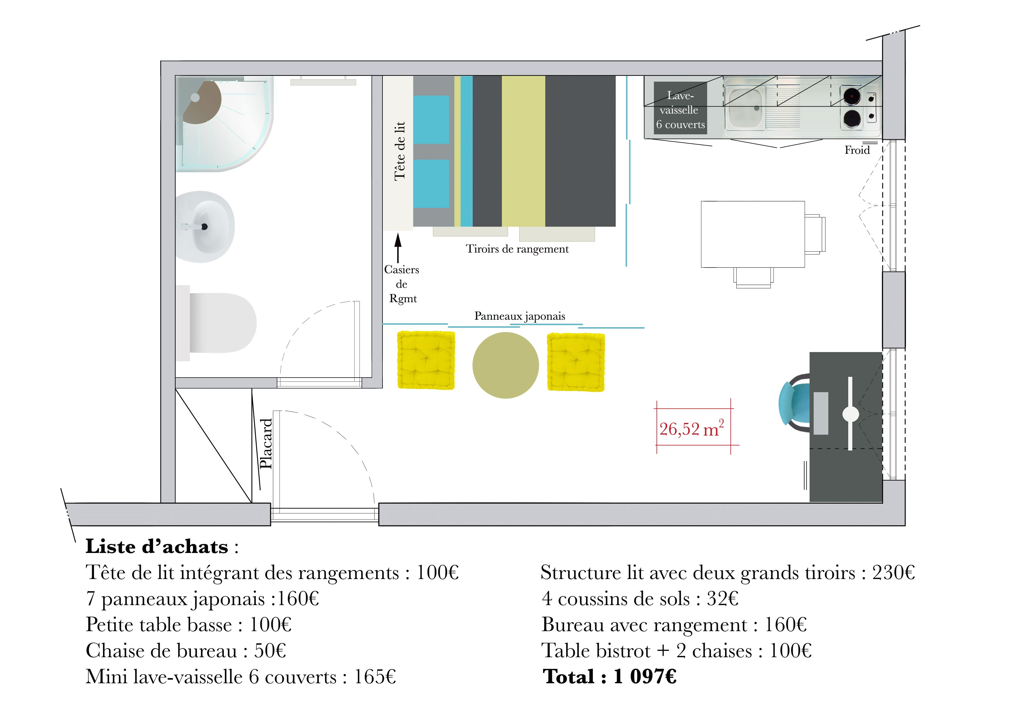 Aménagement studio paris 12 16m2 fonctionnel et contemporain
