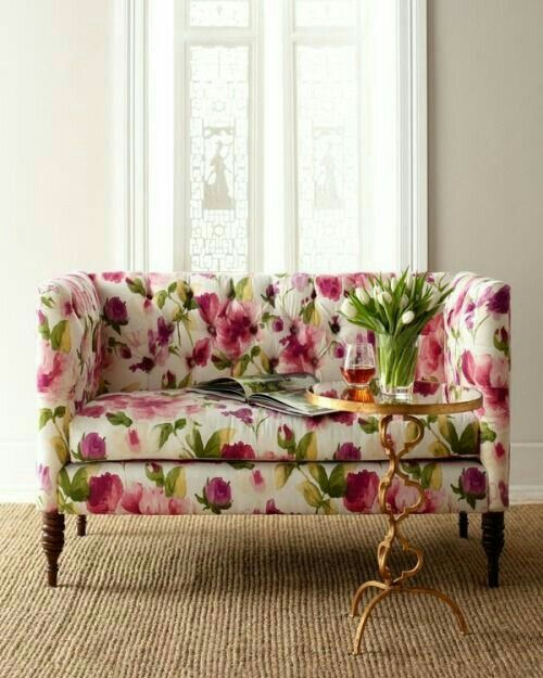 Pink Green Floral Print Couch Floral Furniture Floral Sofa Printed Sofa