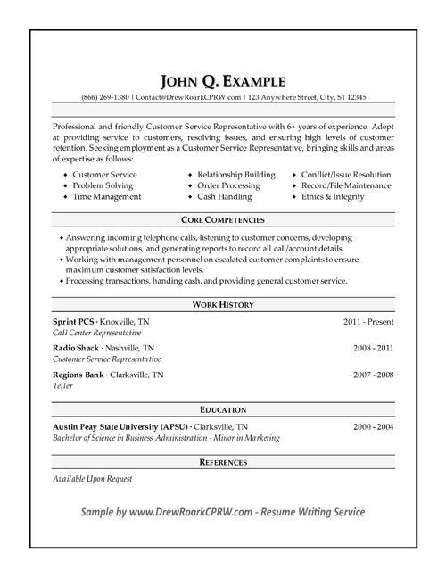 resume for customer care executive