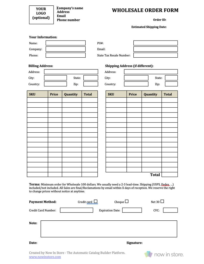 The Mesmerizing Wholesale Order Form Template Create Your Own For Free Pertaining To Order Form With Credit Card Order Form Template Card Template Order Form