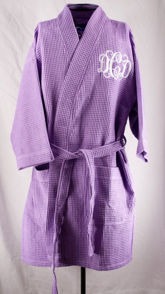 8981023c46 Personalized Waffle Weave Kimono Thigh Length Spa Purple Lilac Robe  Monogrammed