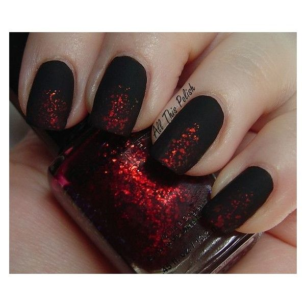 matte black red nail sparkles | Nails | Pinterest ❤ liked on ...