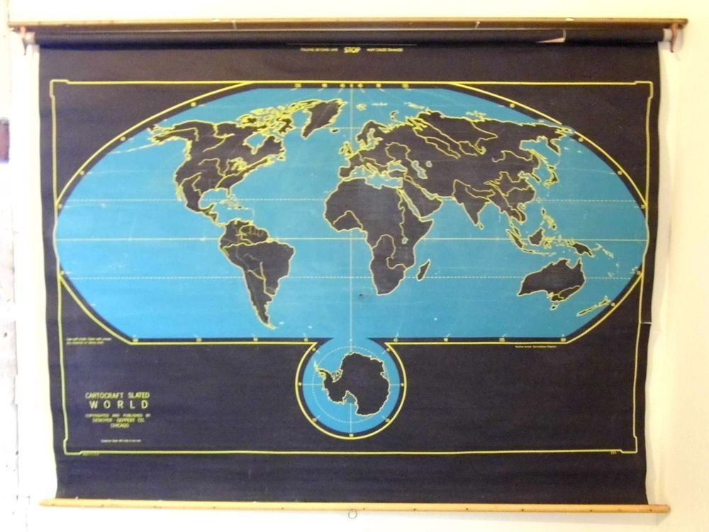 Denoyer Geppert Pull Down Cartocraft Slated Chalkboard Cloth Map - Roll up map of us