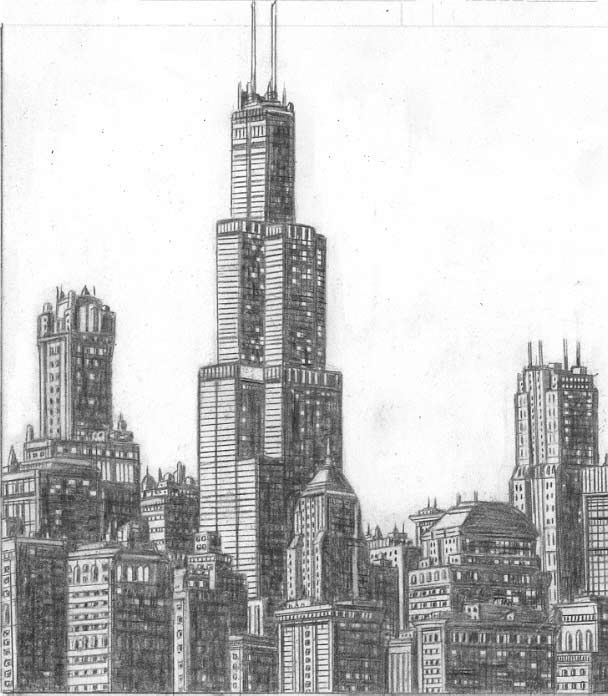 John Chicago Skyline Sears Tower Drawing Artsy Pinterest