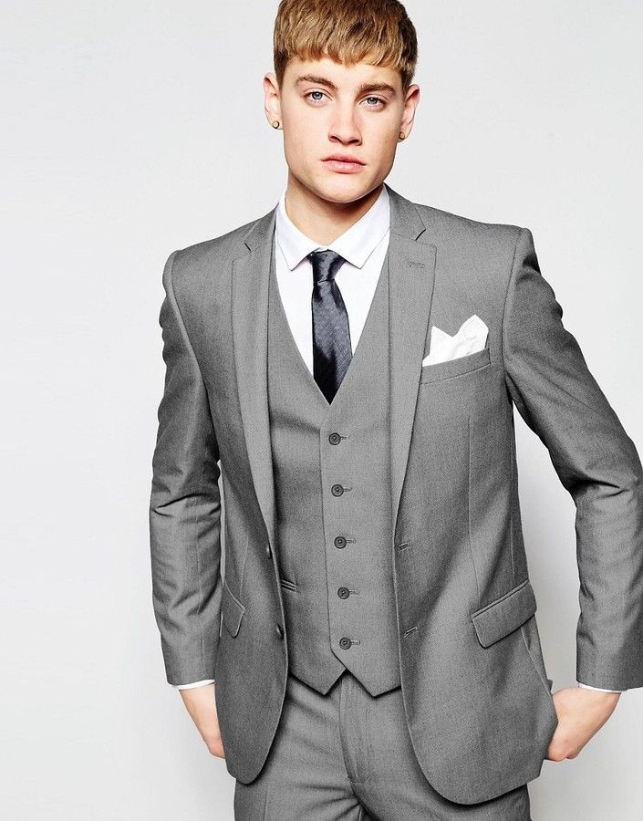 New Look Slim Fit Suit Jacket In Gray  7e5a9e7c372