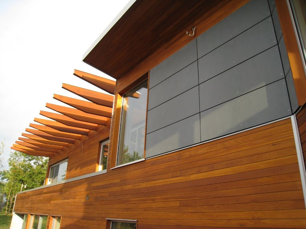 Genuine cedar tongue and groove siding is a modern take on