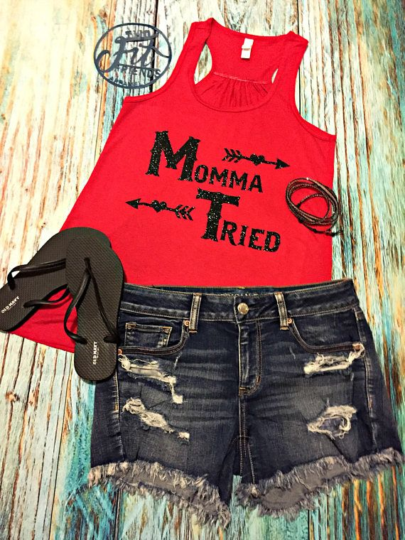 9ba07aa33a5fa Momma Tried Tank Top Workout Shirt Mom Life country music concert tank
