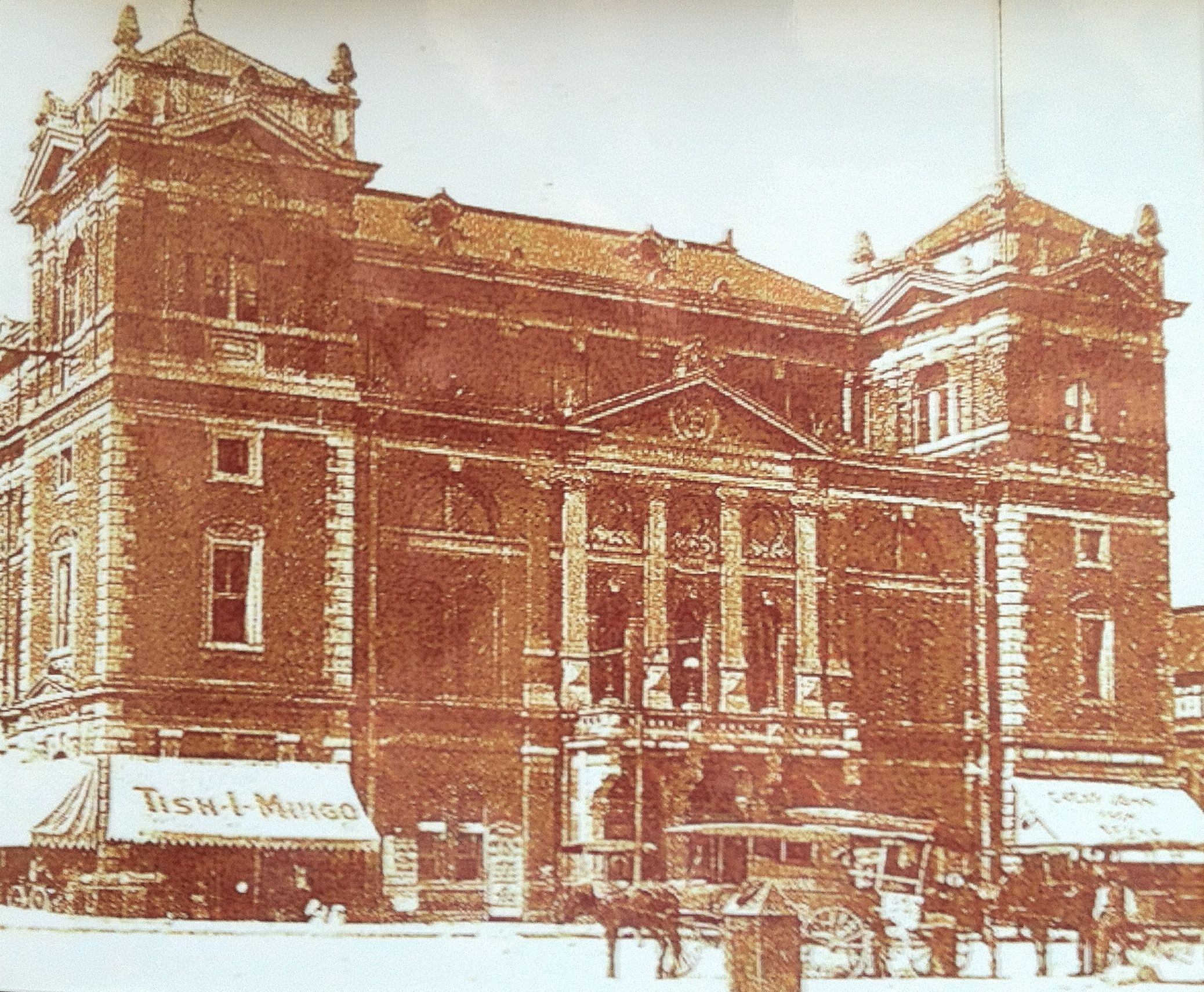 This stood over the catacombs from 1886 until 1958. This is Tomlinson Hall.  It burned down due to faulty electrical wiring.