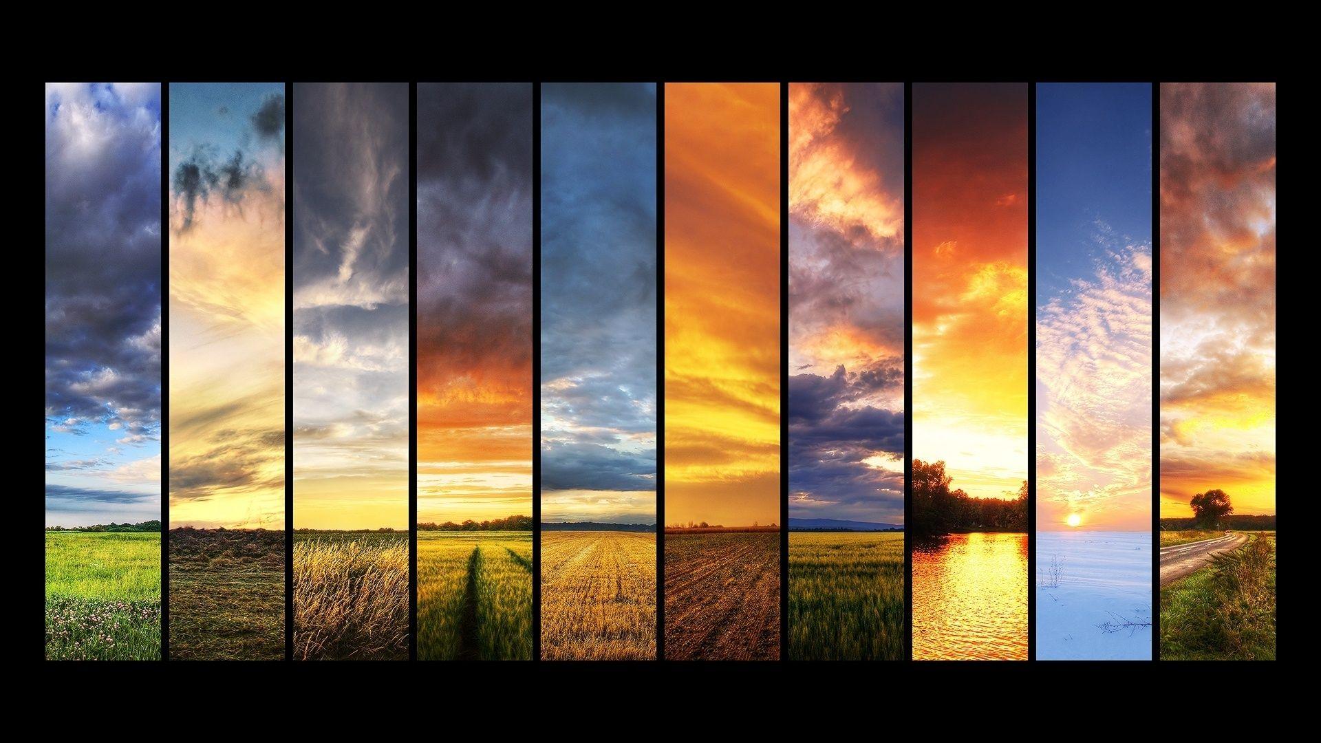 Seasons Wallpaper Collage Spring Winter Autumn Summer Sun Sky Clouds Grass Jpg 1920 1080 Landscape Pictures Landscape Wallpaper Sunset Landscape