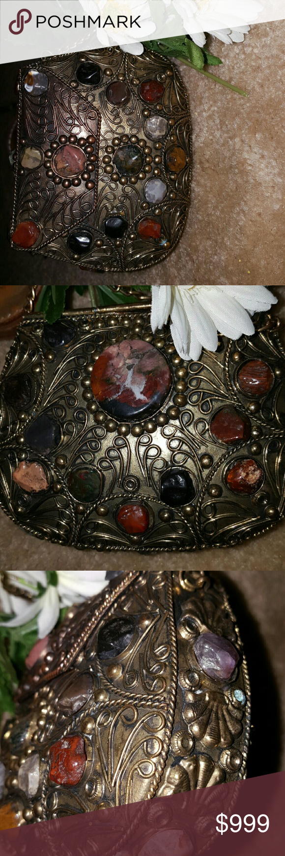 ??Multi Stone purse brass and copper add. Photos ??Additional photos Vintage Bags