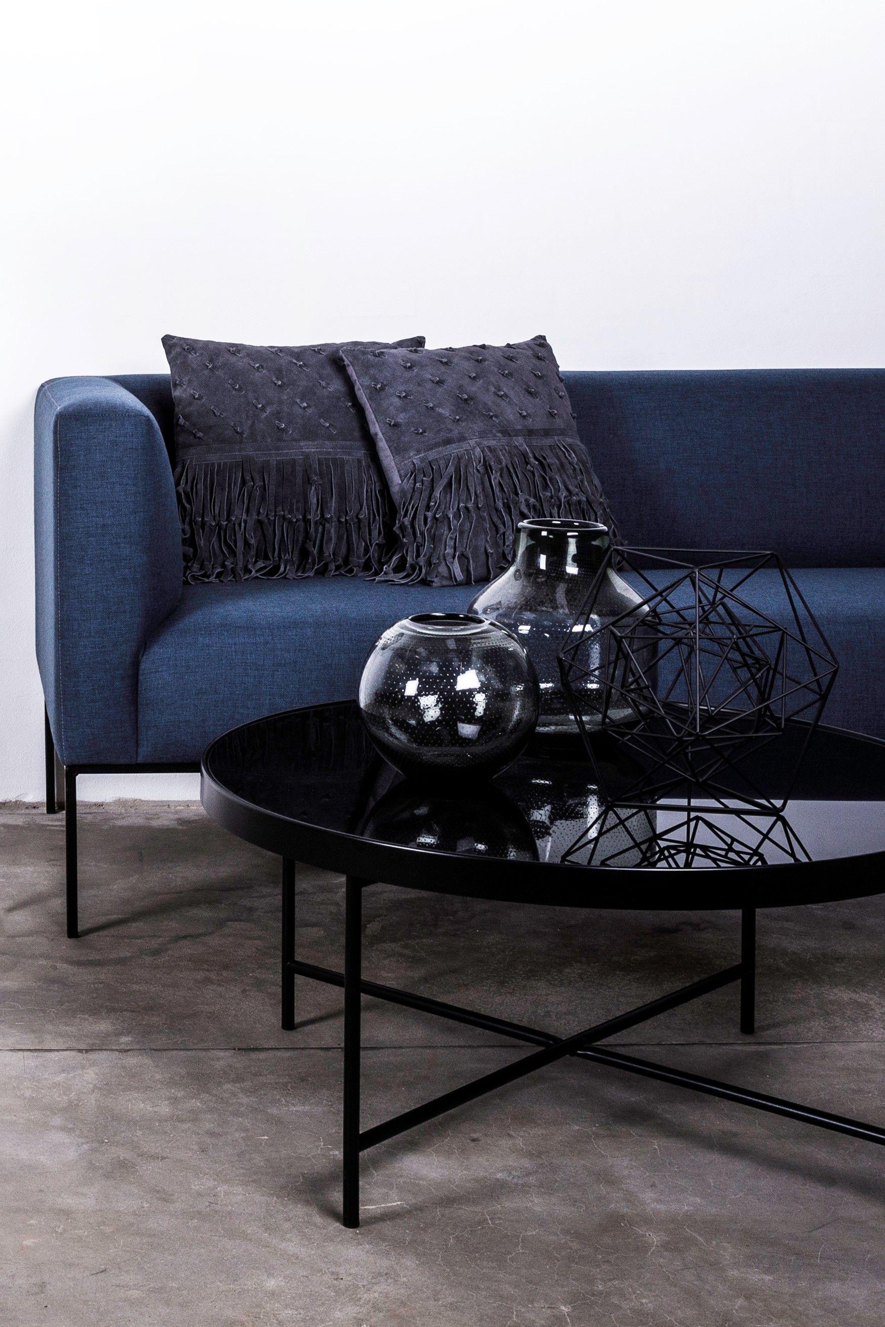 Schwarzer Hochglanz Sofatisch Beistelltisch Couchtisch Und Blaue Couch Couchtisch Sofa Tisch Couchtisch Schwarz