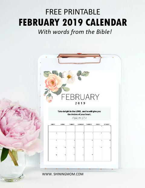 February 2019 Calendar Bible Free Printable February 2019 Calendar: 12 Awesome Designs