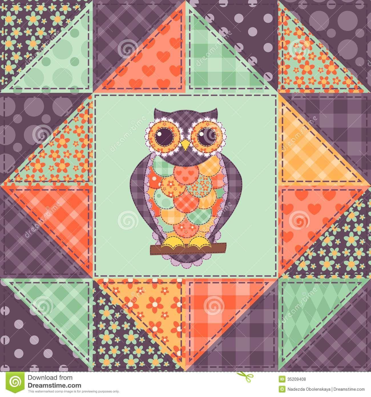 patchwork patterns seamless patchwork owl pattern. Black Bedroom Furniture Sets. Home Design Ideas