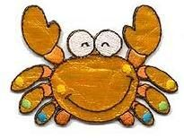 ADORABLE SHIMMERY HAPPY CRAB IRON ON APPLIQUE