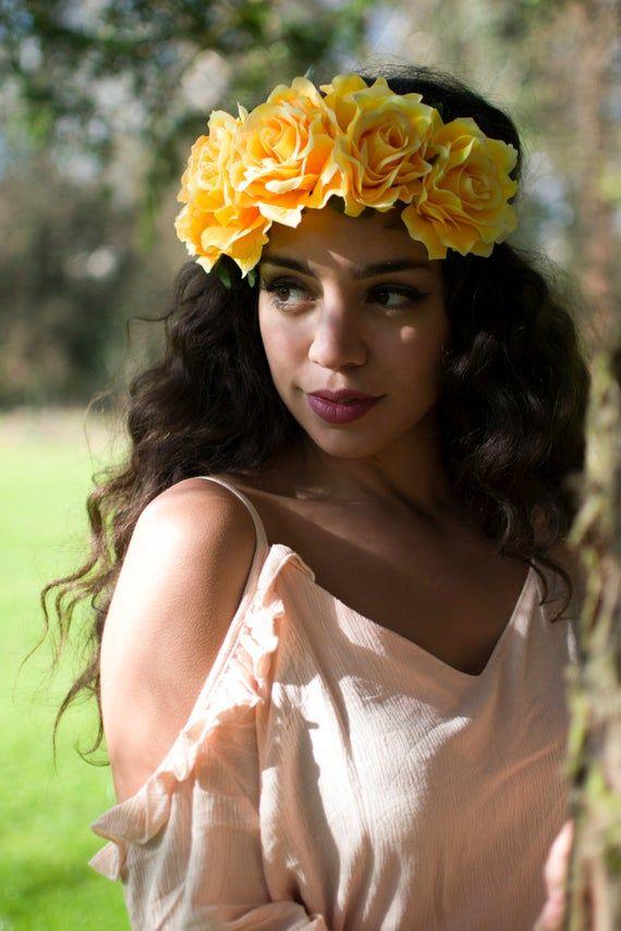 Large Yellow Rose Flower Hair Crown Headband Big Vintage Elasticated Boho Garland Headdress Festival