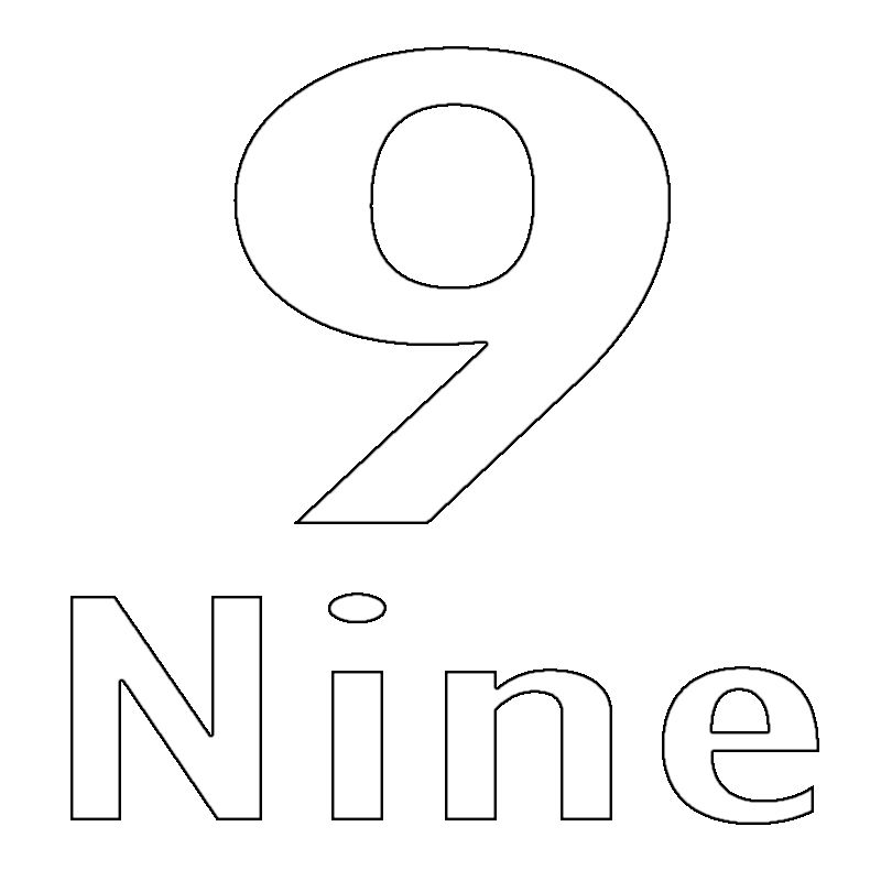 Number 9 Coloring Page Coloring Pages Printable Coloring Pages Free Coloring Pages