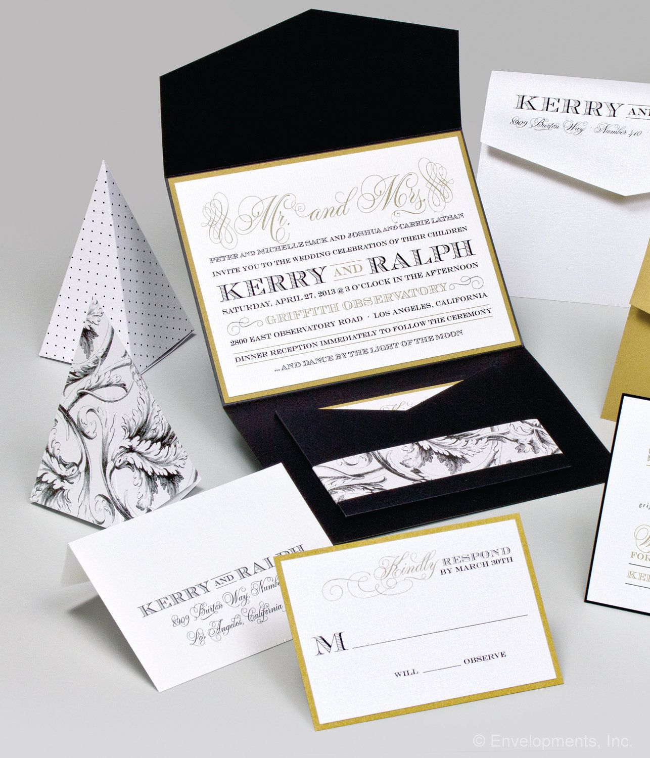 Black and gold formal pocket wedding invitation kerry and ralph black and gold formal pocket wedding invitation kerry and ralph 810 via etsy monicamarmolfo Image collections