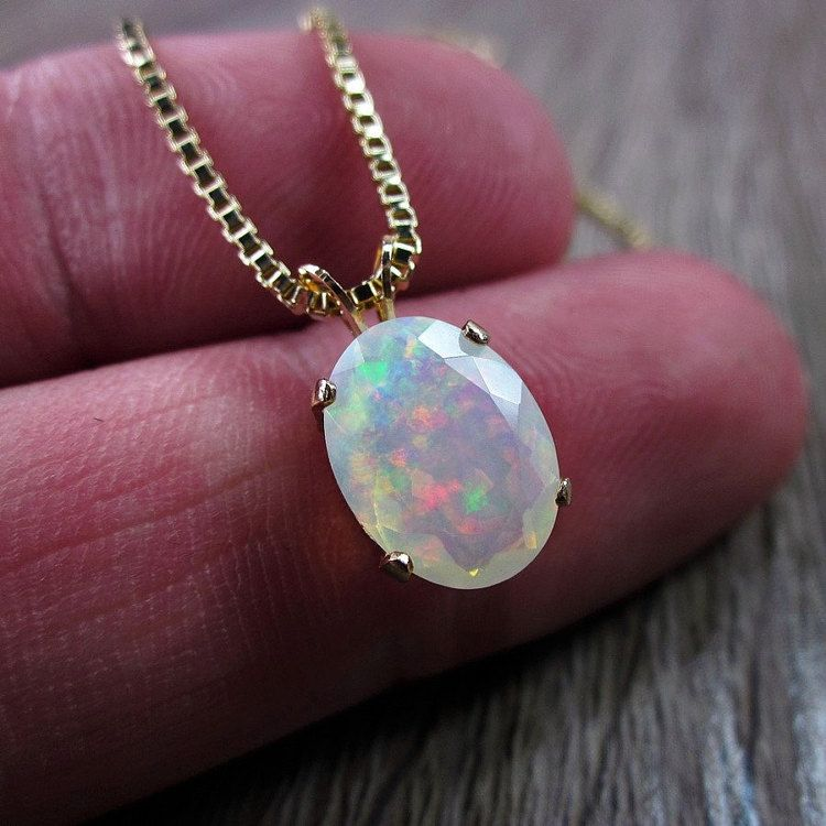 Opal Necklace Rainbow Opal Wedding Jewelry Opal Pendant Fine