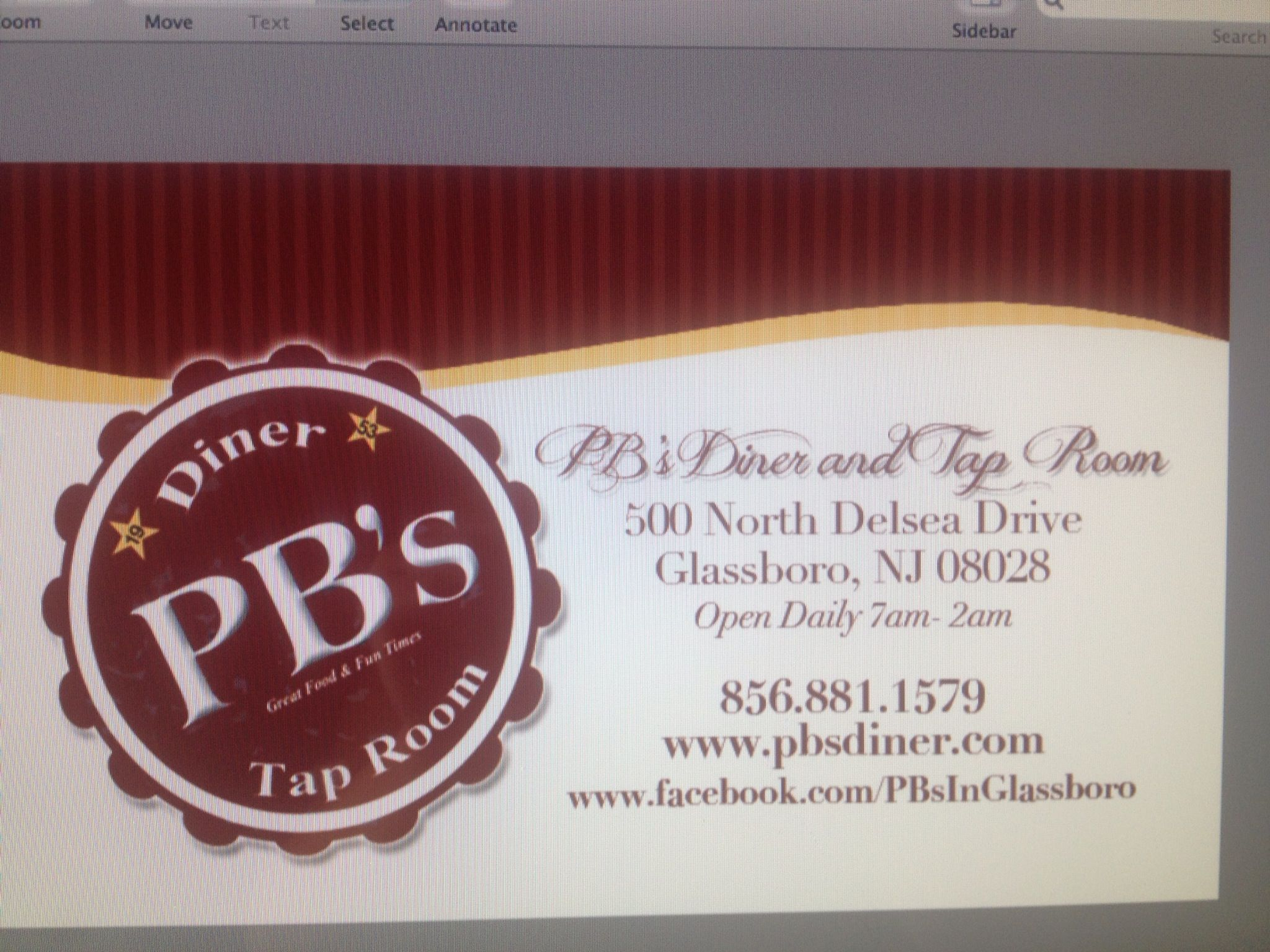 Business cards for Pb\'s diner and tap room in glassboro. | design by ...