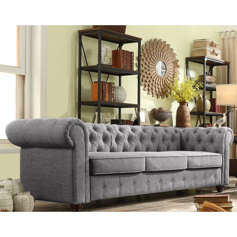 Best Quitaque Chesterfield 84 Rolled Arm Sofa Chesterfield 400 x 300