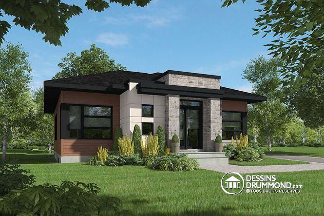 W4161 - Modèle De Maison Plain-Pied Avec Foyer Central, Grande Îlot