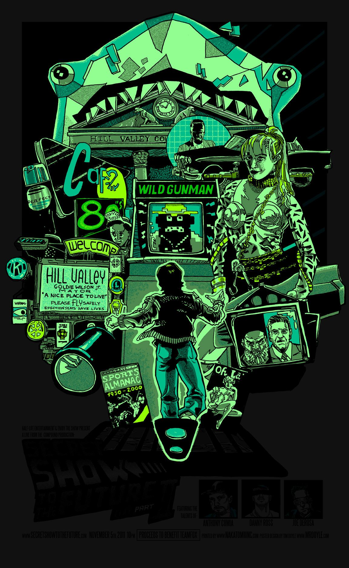Back To The Future 2 Green Neon Glow Poster Poster Art Cool