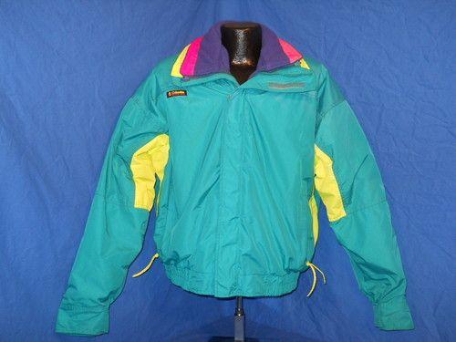 b72fd0cbcbc48 Vintage 80s Columbia Bugaboo 2 Piece Nylon Fleece Ski Skiing Winter Jacket  XL