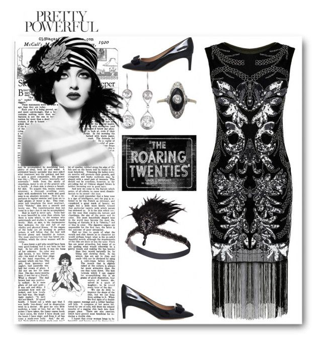 """""""Black Flapper Style"""" by sparklemeetsclassic on Polyvore featuring Salvatore Ferragamo and vintage"""