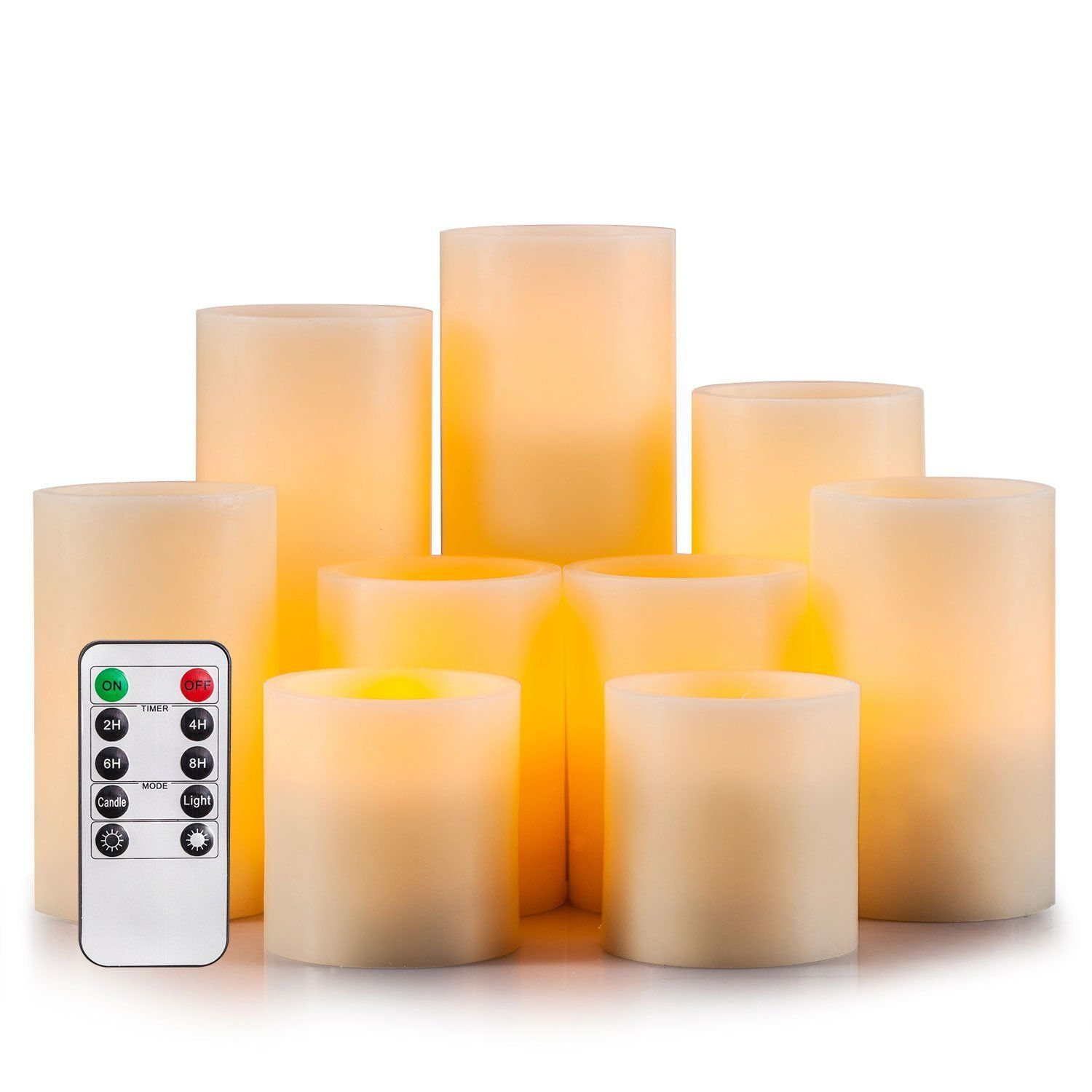 Enpornk flameless candles led pillar battery operated candles with