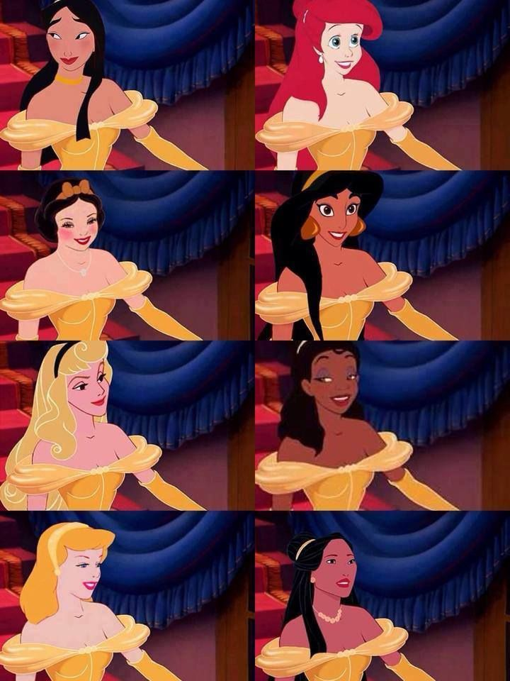 Helps you see the differences between all of them clearer. (Other than their bodies, since they all used belle's.) I mean mostly skin color and facial proportions.